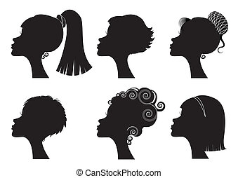ženy, čelit, s, neobvyklý, hairstyles, -, vektor, čerň,...