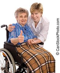židle na kolečkách, manželka, postarší