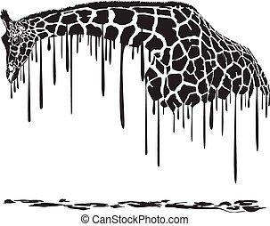 žirafa, malba