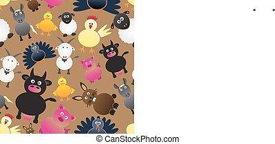 živočichy, barvitý, Ikona, farma, model,  seamless, jednoduchý,  eps10