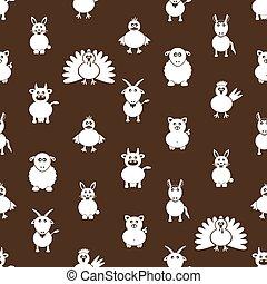 živočichy, Ikona, farma, model,  seamless, jednoduchý,  eps10