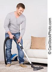 živobytí, muži, místo, ubytovat se postup, cleaning., cleaner., luxovat, voják