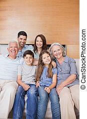 živobytí, prodloužený, sedění, pohovka, rodinný vůle