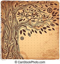 živost, jedinečný, strom, etnický