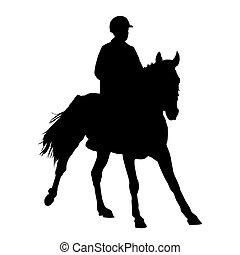 žokej, dále, jeden, horse., vektor, illustration.