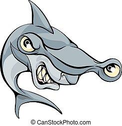 žralok kladivoun, podvodník, karikatura
