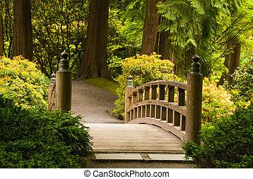άγαρμπος γέφυρα , μέσα , ένα , ιάπωνας ασχολούμαι με κηπουρική