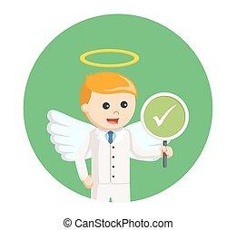άγγελος , checklist , σήμα , φόντο , επιχειρηματίας , κύκλοs