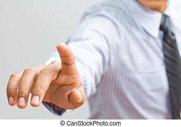 άγγιγμα , επεμβαίνω , οθόνη , επιχείρηση , χέρι