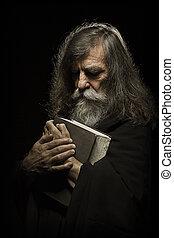 άγια γραφή , γριά , βιβλίο , ανάμιξη , προσευχή , αρχαιότερος , εκλιπαρώ , άντραs