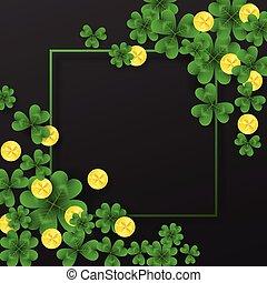 άγιος , πατρίκιος , ημέρα , κορνίζα , με , γωνία , διακόσμηση , πράσινο , χρυσός , τέσσερα , και , αγχόνη φύλλο , τριφύλλι , κέρματα , αναμμένος αγαθός , φόντο. , πάρτυ , πρόσκληση , template.lucky, και , χρήματα , σύμβολο , μικροβιοφορέας , illustration.
