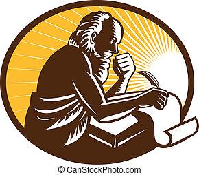 άγιος , jerome , γράψιμο , έγγραφος , retro , w