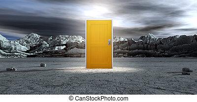 άγονος , πόρτα , lanscape , κίτρινο , κλειστός