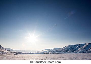 άγονος , χειμερινός γραφική εξοχική έκταση