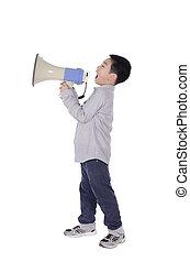 άγρια φωνή , μεγάφωνο , παιδί