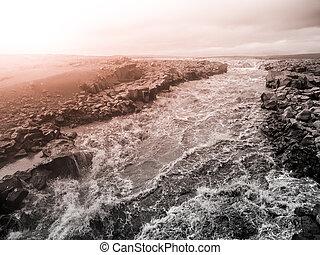 άγριος , καταρράκτης , από , ισλανδικός , παγετών , ποτάμι , jokulsa, ένα , fjollum, ισλανδία