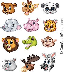άγριος , κεφάλι , γελοιογραφία , ζώο , συλλογή