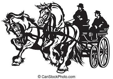 άλογο , άμαξα