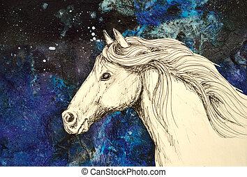 άλογο , - , αύρα , θάλασσα , head., άσπρο
