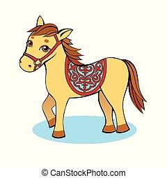άλογο , ελαφρείς , βάφω κίτρινο φόντο , μικρό , γελοιογραφία