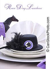 άλογο , επίσημο γεύμα , κυρίεs , αγώνας , τραπέζι , setting., ημέρα