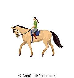 άλογο , horsewoman, εναντίον , απομονωμένος , ερυθρόστικτος , φόντο , ιππασία , άσπρο