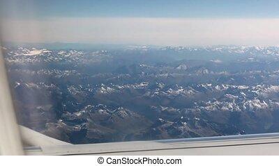άλπειs , βουνά , από , αεροπλάνο