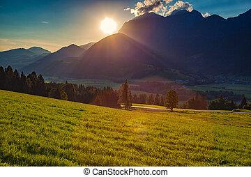 άλπειs , ηλιοβασίλεμα , τοπίο