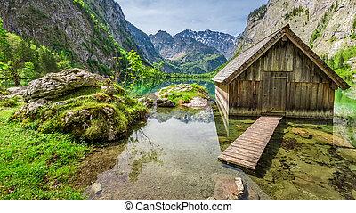άλπειs , καλύβα , μικρός , obersee, λίμνη