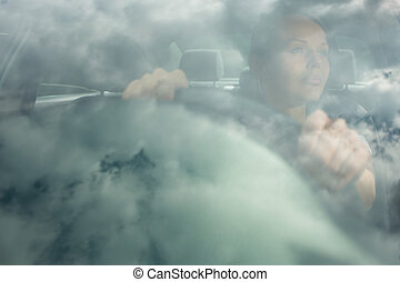 άμαξα αυτοκίνητο γυναίκα , νέος , αυτήν , οδήγηση
