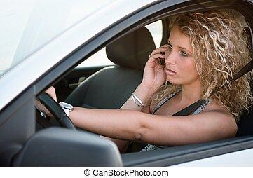 άμαξα αυτοκίνητο γυναίκα , νέος , οδήγηση , πορτραίτο