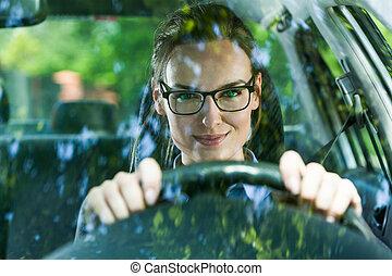 άμαξα αυτοκίνητο γυναίκα , νέος , οδήγηση