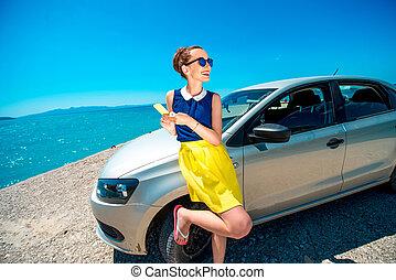 άμαξα αυτοκίνητο γυναίκα , τηλέφωνο