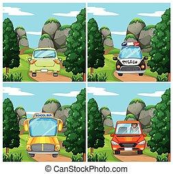 άμαξα αυτοκίνητο , διαφορετικός , γεγονός , δρόμοs