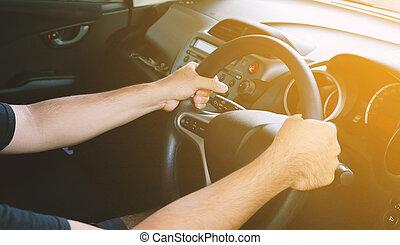 άμαξα αυτοκίνητο. , οδήγηση , άντραs