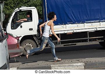 άμαξα αυτοκίνητο , σπάγγος , κορίτσι , δρόμοs