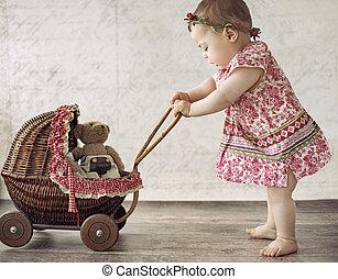άμαξα , μικρός , παιχνίδι , παίξιμο , κορίτσι
