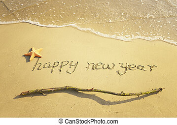 άμμοs , έτος , καινούργιος , μήνυμα , παραλία , ευτυχισμένος...