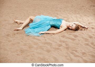 άμμοs , γυναίκα , νέος