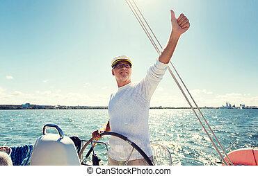 άνεση γιωτ , θάλασσα , πηδάλιο , αρχαιότερος , ή , βάρκα , ...