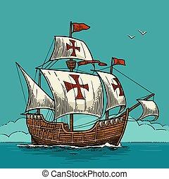 άνεση επιβιβάζω , πλωτός , επάνω , ο , θάλασσα , waves., caravel, santa , maria.