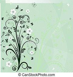 άνθινος , κορνίζα , πράσινο , (vector)
