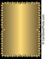 άνθινος , κρασί , κορνίζα , (vector), χρυσαφένιος