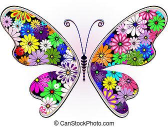 άνθινος , φαντασία , πεταλούδα , ζωηρός