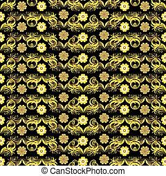 άνθινος , χρυσαφένιος , seamless, (vector), πρότυπο