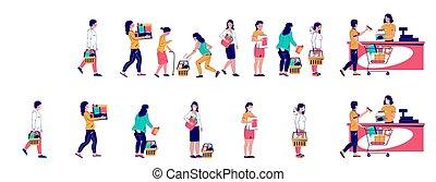άνθρωποι , αδρανής αμυντική γραμμή , αναμονή , μικροβιοφορέας , εικόνα , κατάστημα