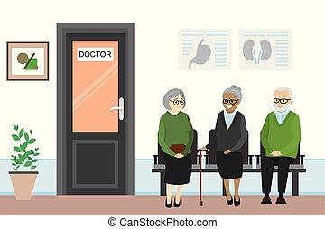 άνθρωποι , ακάνθουρος , γριά , γραφείο , αναμονή , πόρτα , γελοιογραφία