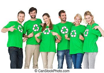 άνθρωποι , ανακύκλωση , φανελάκι , σύμβολο