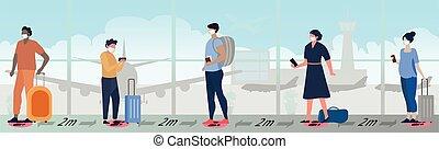 άνθρωποι , αναμονή , οικοτροφία , μεγάλος , ουρά , κτίριο , αεροδρόμιο