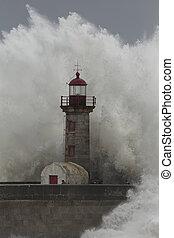 άνθρωποι , απρόσεκτος , μέσο , καταιγίδα , θάλασσα